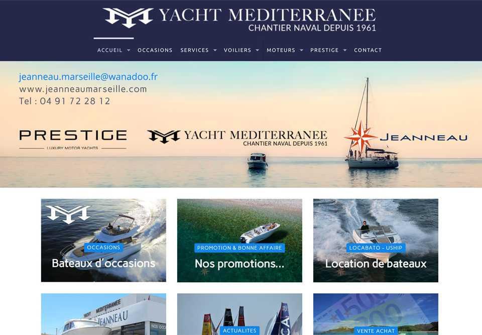 site internet yacht Méditerranée - concessionnaire Jeanneau à Marseille